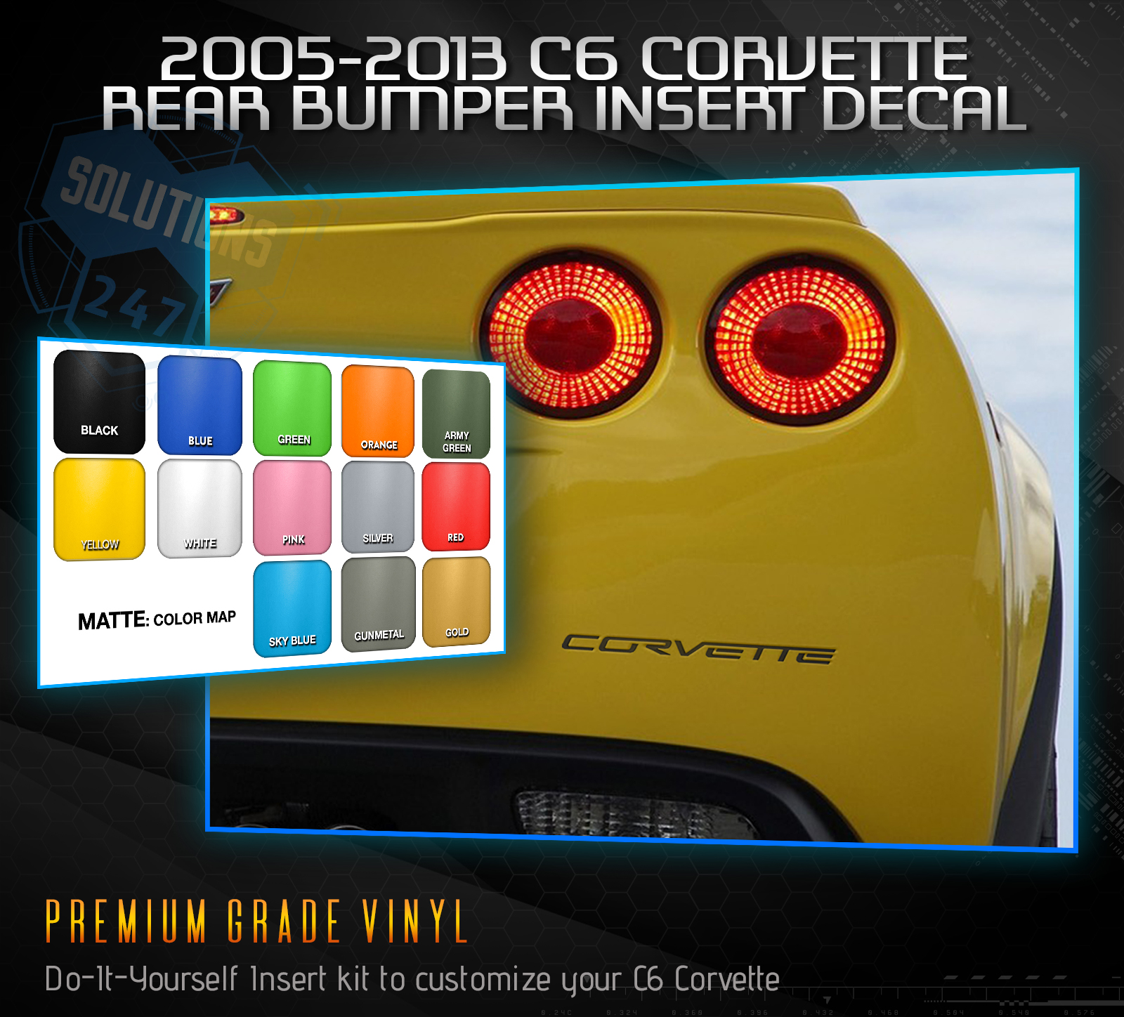 2005-2013 C6 Chevy Corvette Letter Inserts Rear Bumper Decal Solid Flat Matte