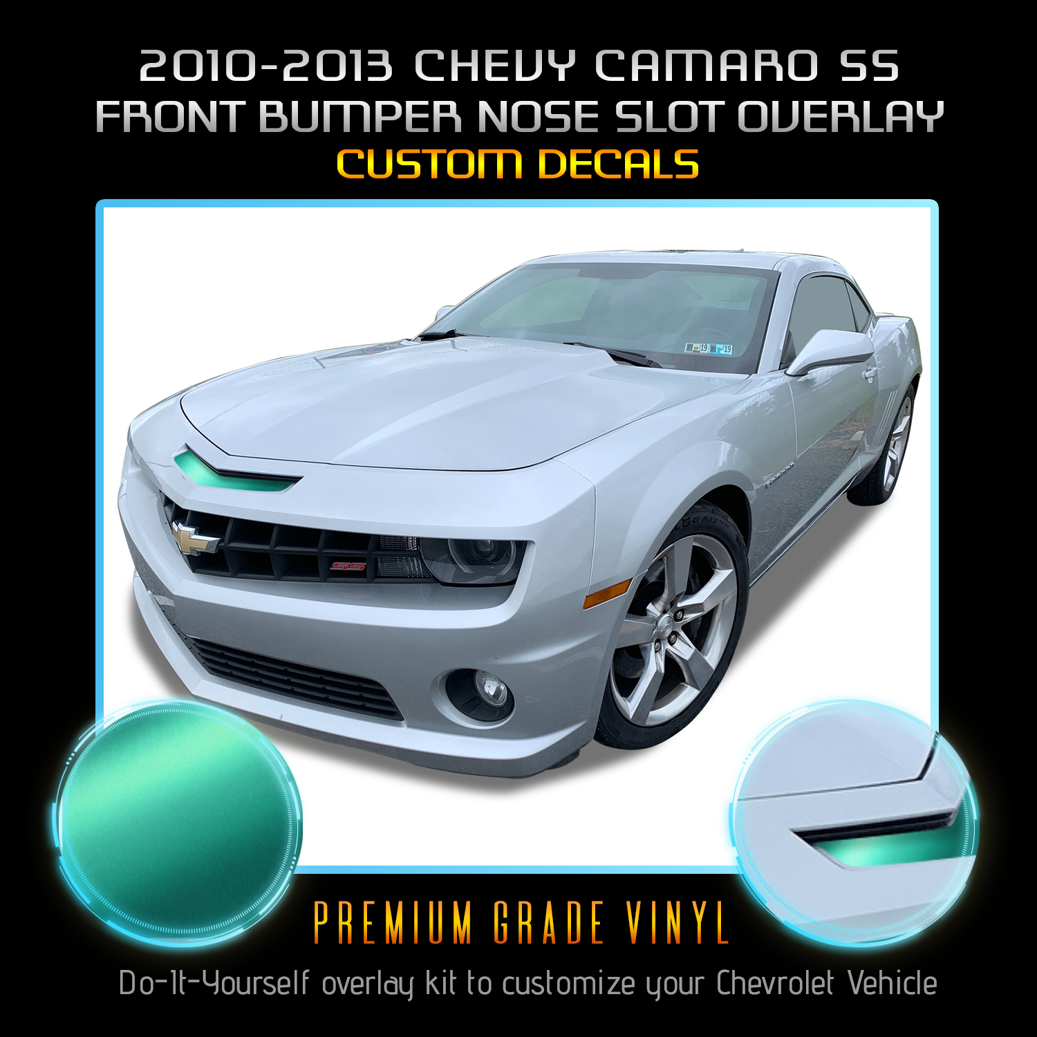 Engine Overlay Decals Letter CHEVROLET For 2010-2015 Camaro Satin Matte Chrome
