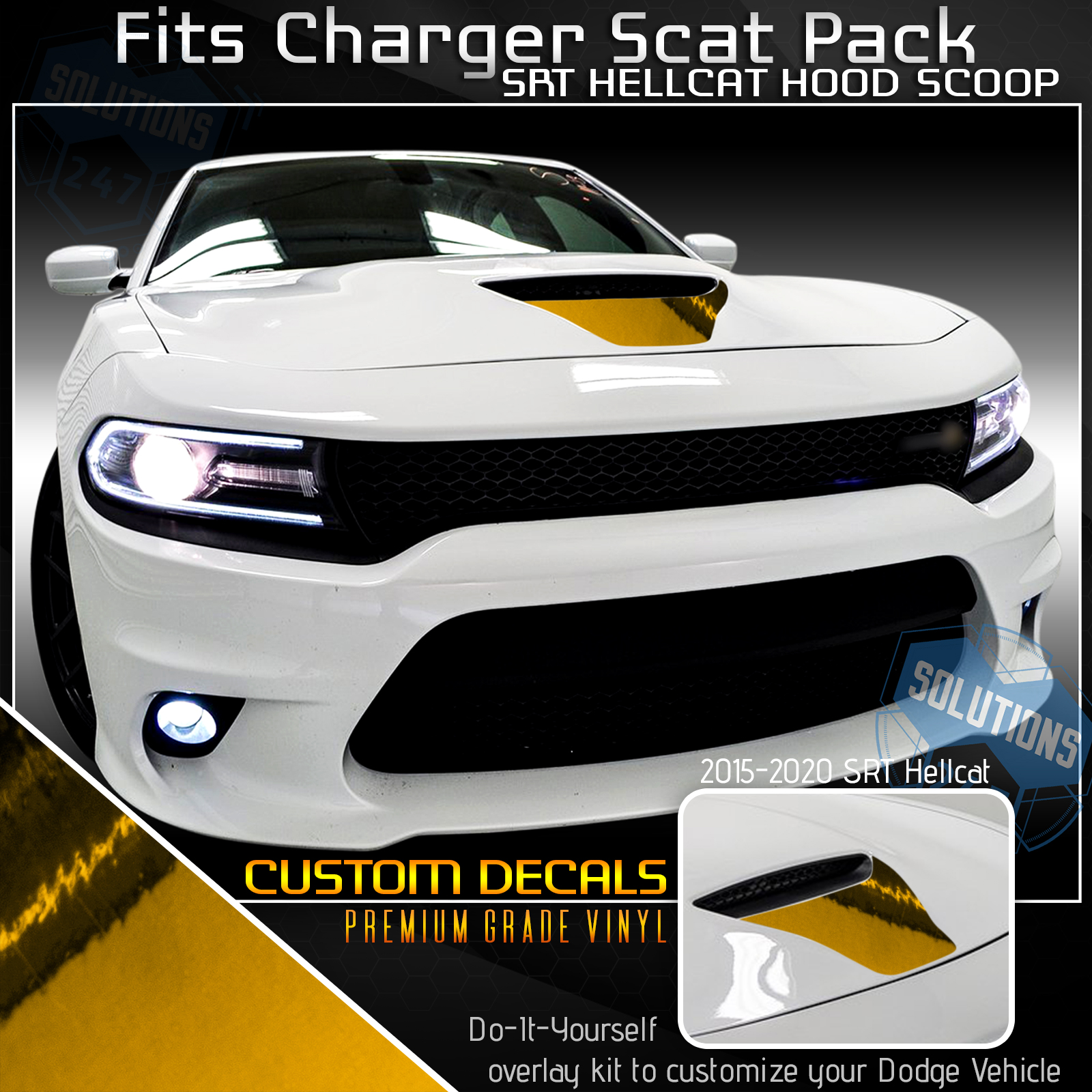 Power Bulge Spears Vinyl Graphic Decal Dodge Charger Hellcat//392//Scat 2015 Up