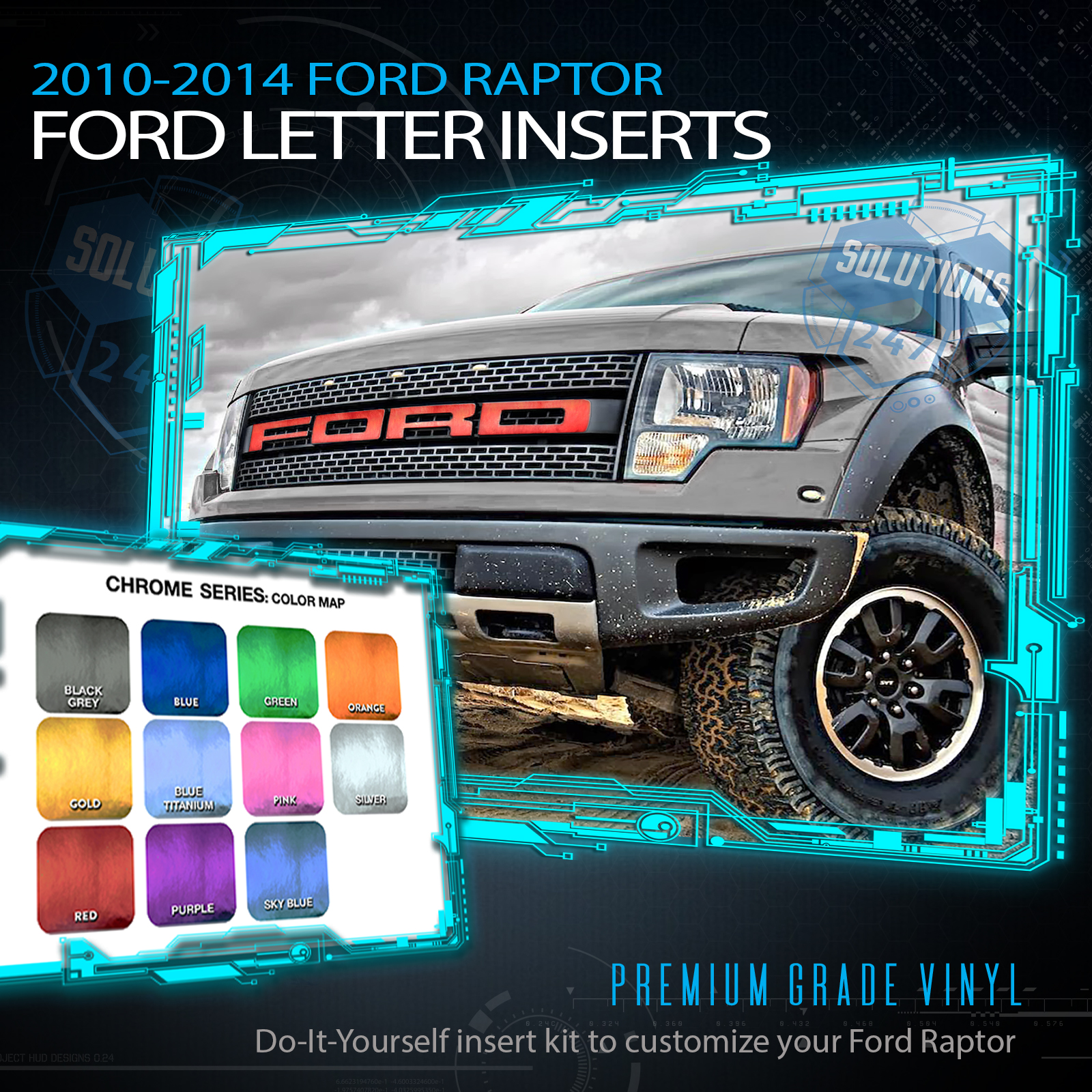 F150 SVT Raptor Ford Grill Insert Graphics Stickers Decals 2010-2014 RED LINE