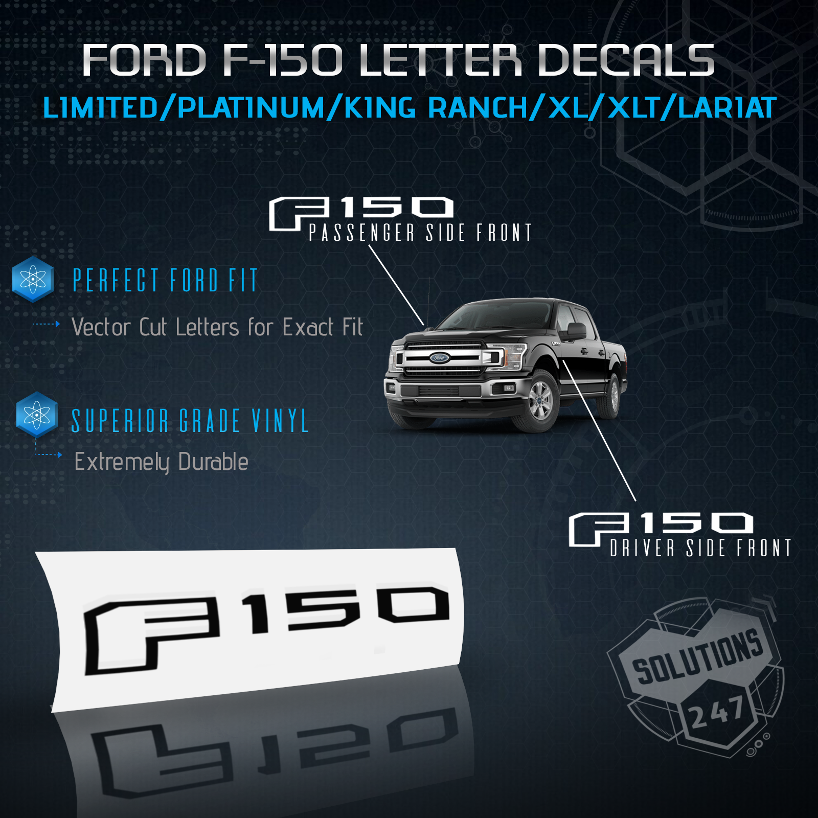Details about 15 18 ford f150 side set emblem overlay decal sticker 3d matte carbon fiber
