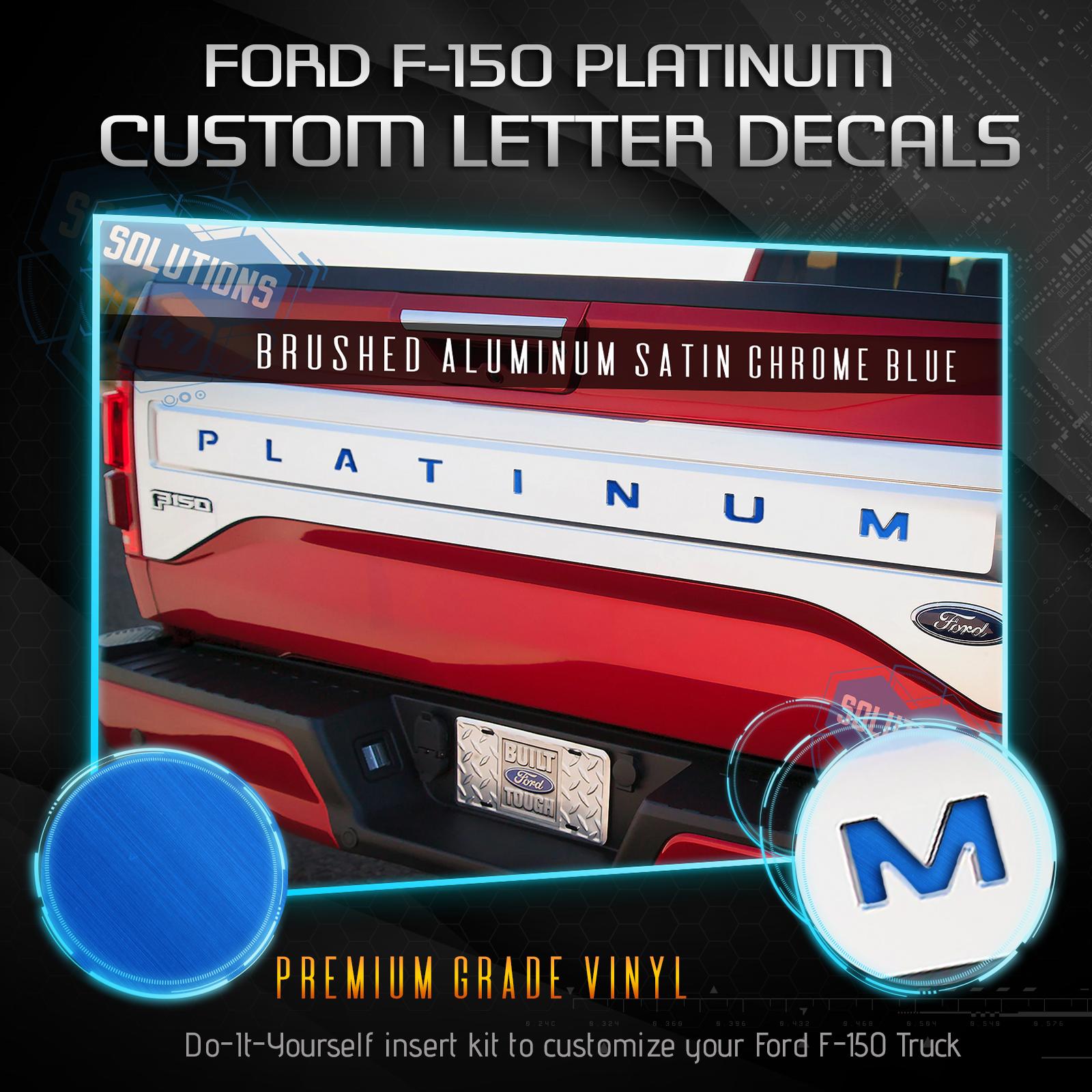 PLATINUM Tailgate 5D Carbon Fiber Vinyl Letter Insert Decal For 15-17 Ford F-150