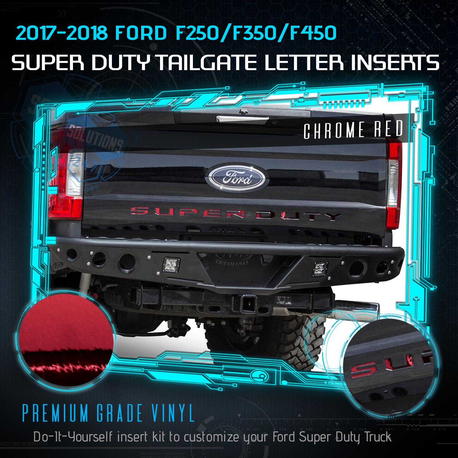 2017-2018 Ford F250 F350 F450 F550 Super Duty Tailgate Decal Cut Chrome Mirror