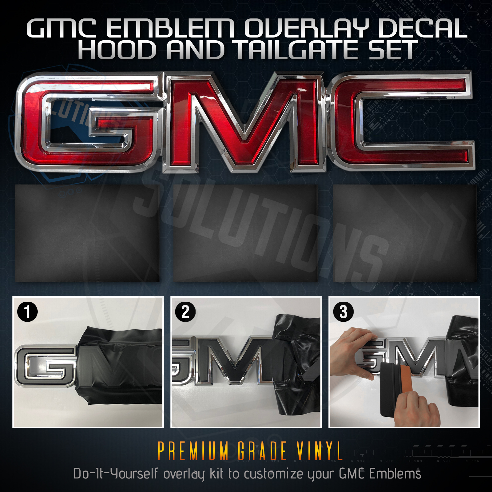 Glossy Carbon Fiber GMC ALL Front Rear Grill Emblem Overlay Kit Decal Sticker