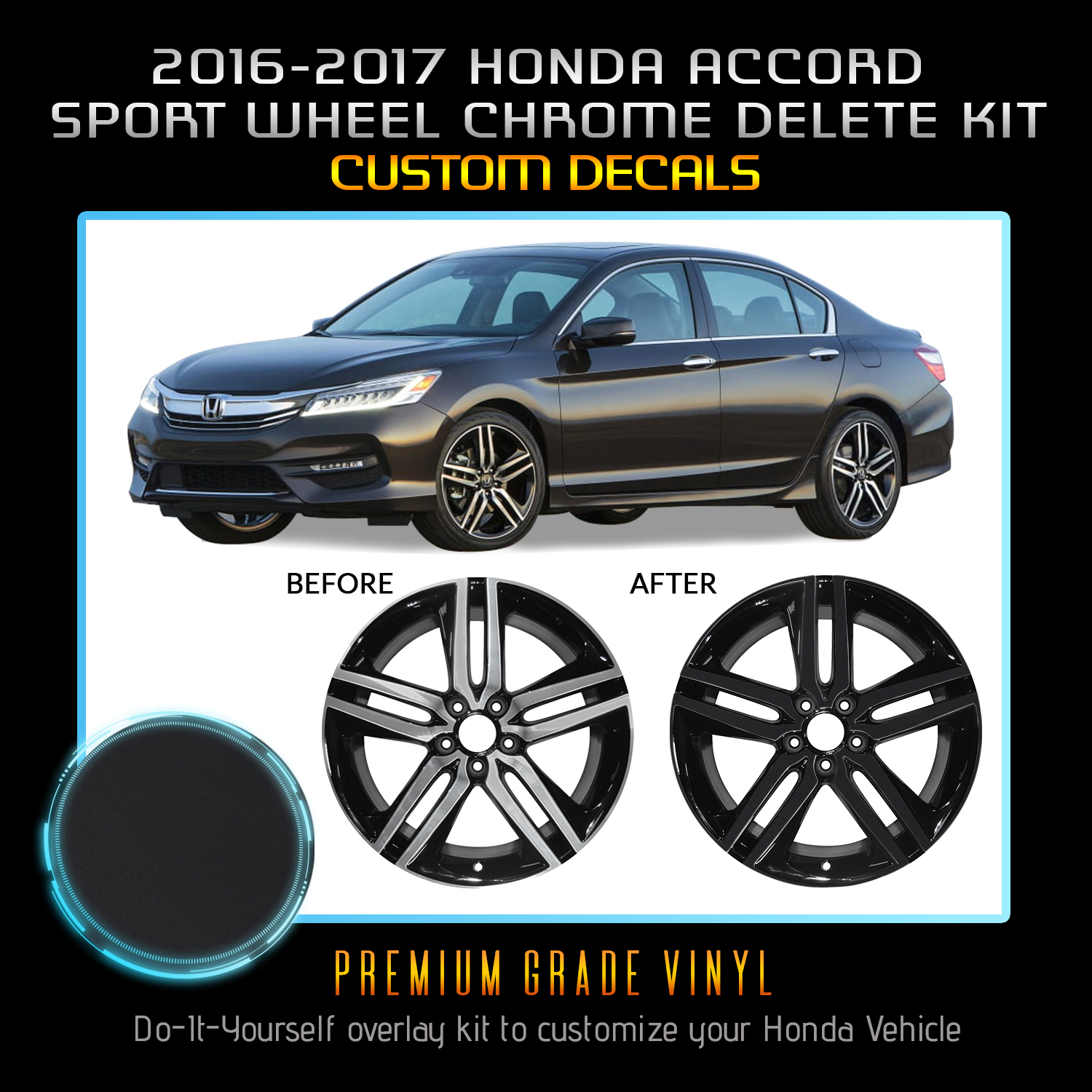 Fit 16 17 Honda Accord Sport Wheel Chrome Delete Blackout Kit Matte Black Ebay