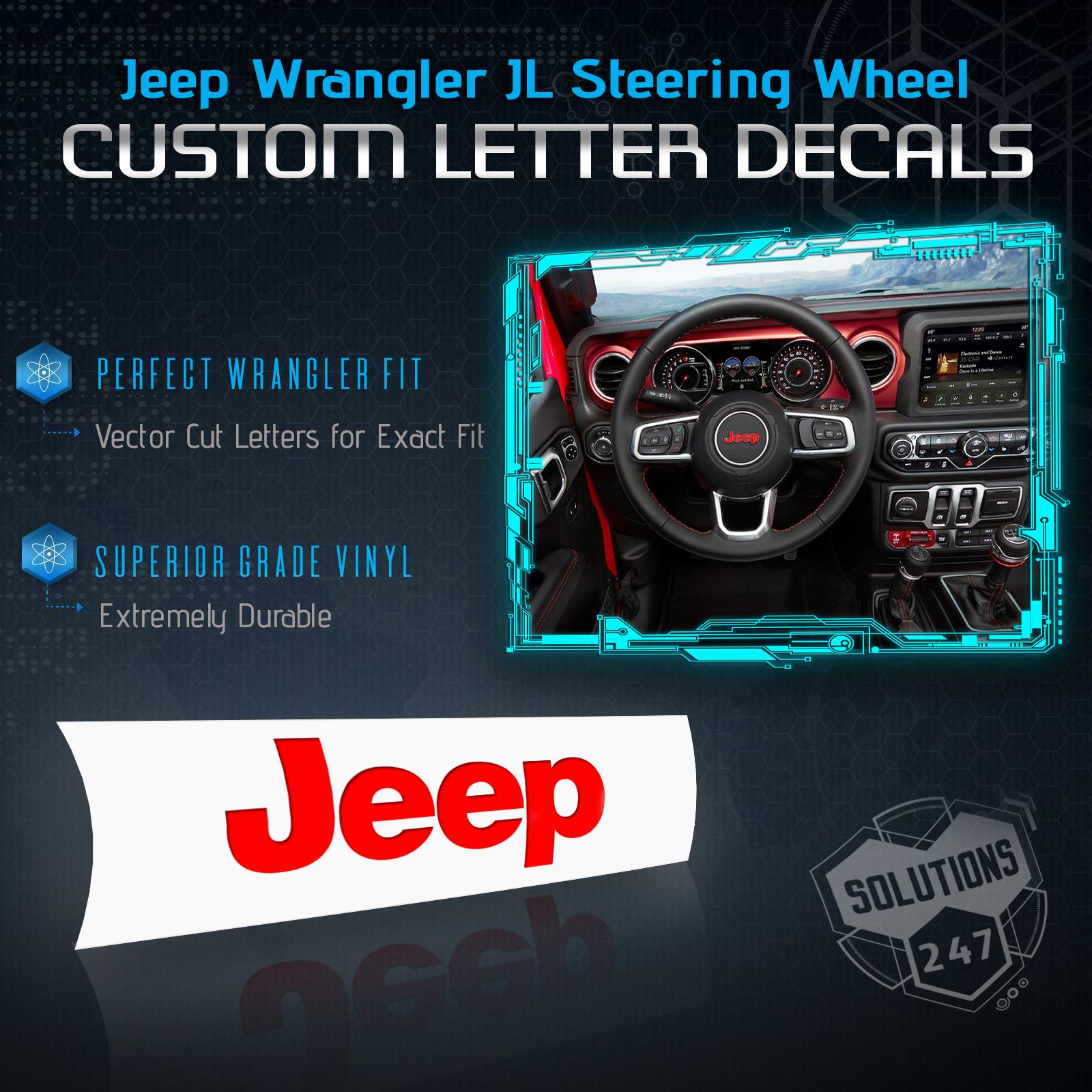 Jeep Wrangler JL New Gloss Black JEEP Steering Wheel Logo Vinyl Decal For 2018