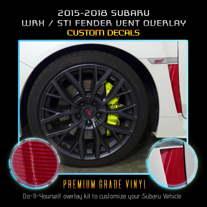 2015-2019 SUBI WRX STi RIGHT//Left Side Molding Fender Badge glossy Black w//Red