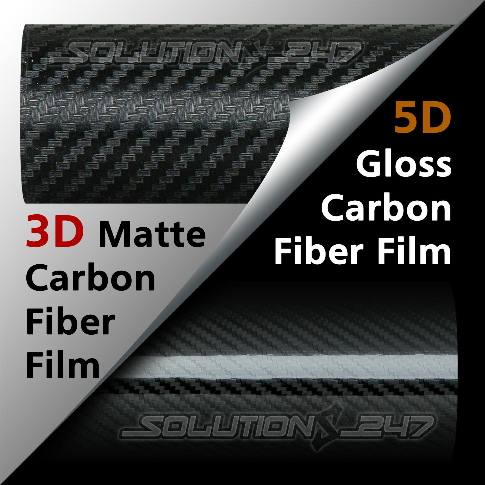 Details about 3D OR 5D Premium Matte or Full Gloss Black Carbon Fiber Vinyl  Wrap Sticker Film